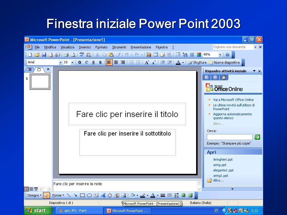 Collegamento ipertestuale Attraverso il comando collegamento ipertestuale nel menu inserisci è possibile inserire un collegamento, per esempio, ad unaltra diapositiva della stessa presentazione, attraverso inserisci nel documento