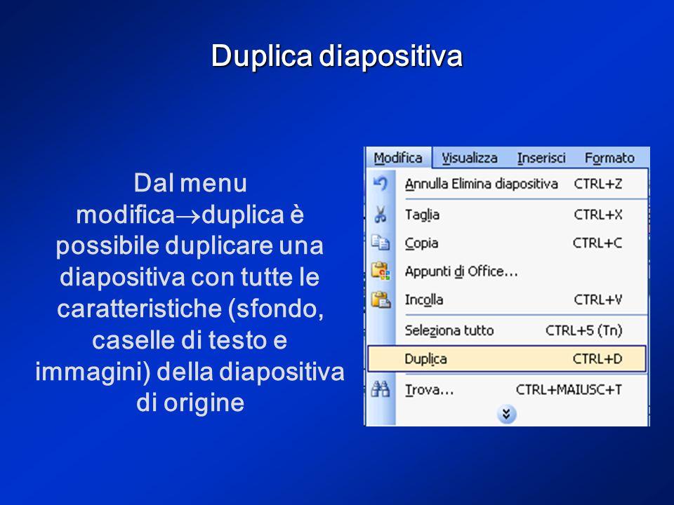 Duplica diapositiva Dal menu modifica duplica è possibile duplicare una diapositiva con tutte le caratteristiche (sfondo, caselle di testo e immagini) della diapositiva di origine