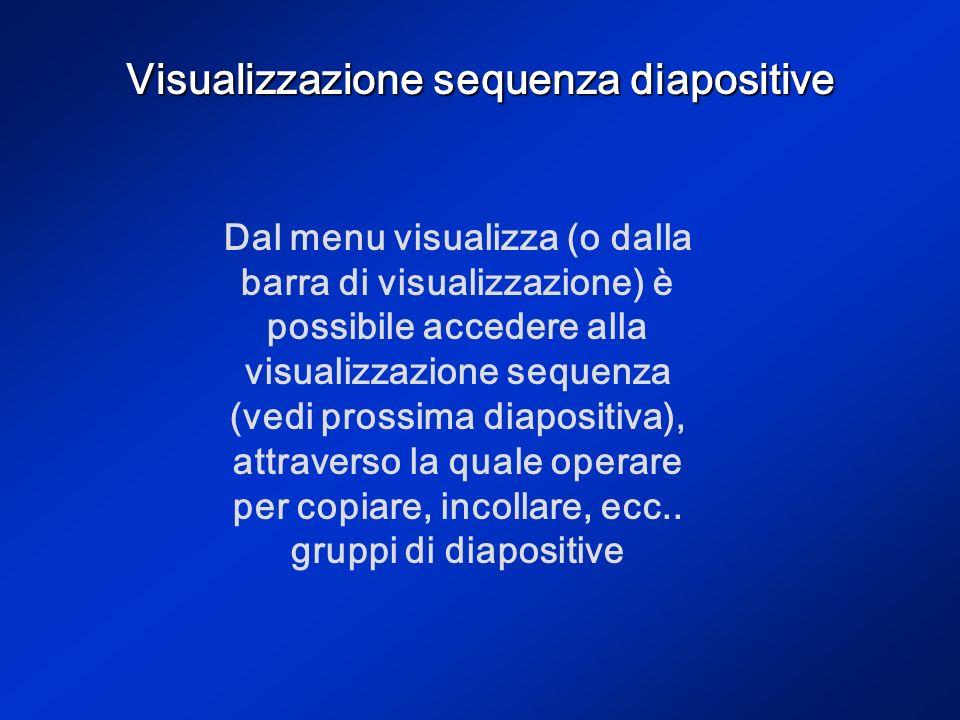 Visualizzazione sequenza diapositive Dal menu visualizza (o dalla barra di visualizzazione) è possibile accedere alla visualizzazione sequenza (vedi prossima diapositiva), attraverso la quale operare per copiare, incollare, ecc..