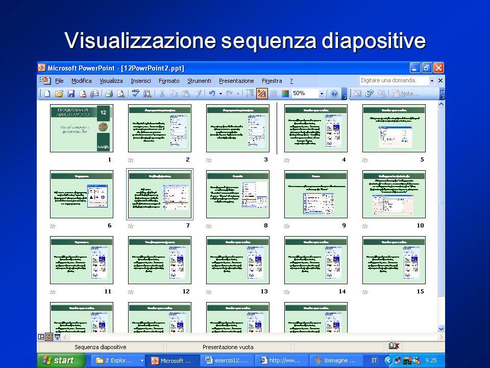 Visualizzazione sequenza diapositive Dal menu visualizza (o dalla barra di visualizzazione) è possibile accedere alla visualizzazione sequenza (vedi p