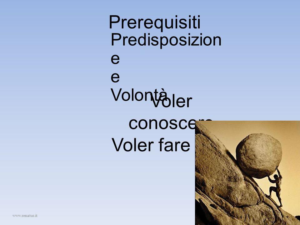 Prerequisiti Predisposizion e e Volontà Voler conoscere Voler fare www.renatus.it