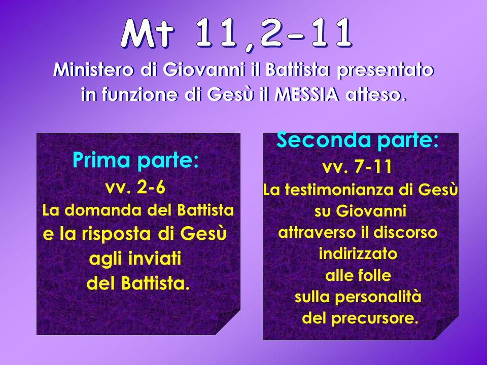 Ministero di Giovanni il Battista presentato in funzione di Gesù il MESSIA atteso.