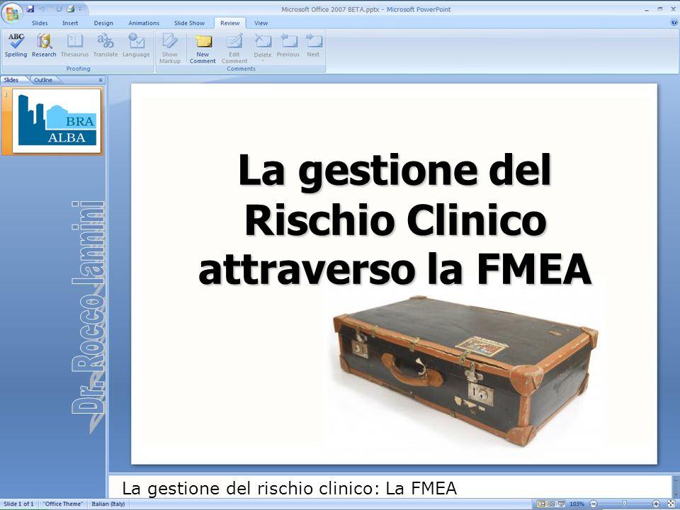 La gestione del rischio clinico: La FMEA Serrare saldamente la macchinetta in modo da evitare fuoriuscite di vapore e di acqua durante la sua ascensione nell anima.