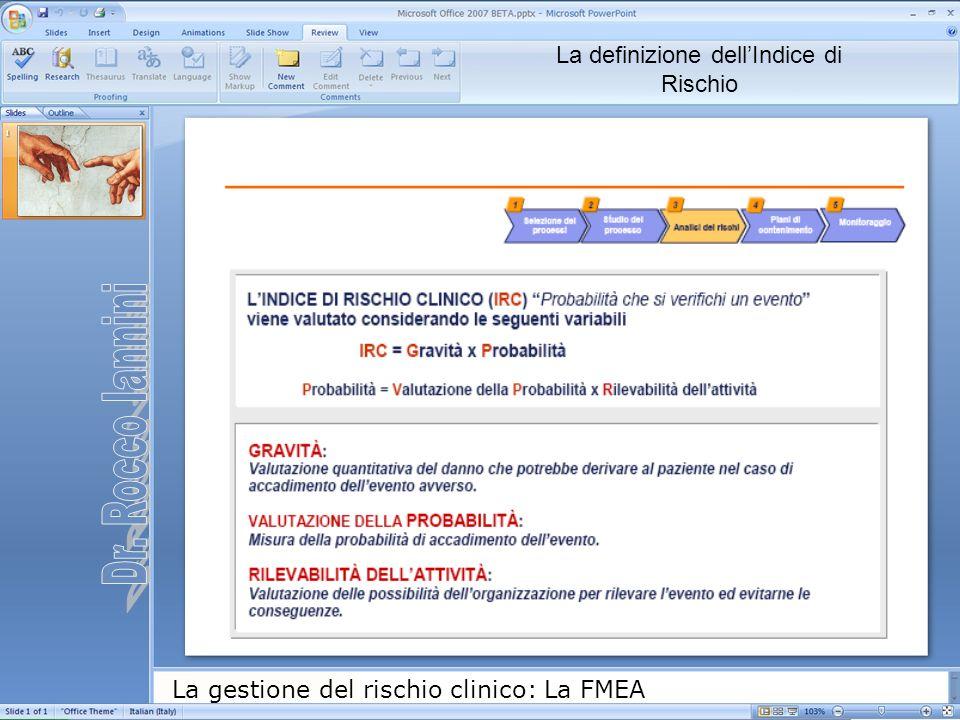 La gestione del rischio clinico: La FMEA La definizione dellIndice di Rischio