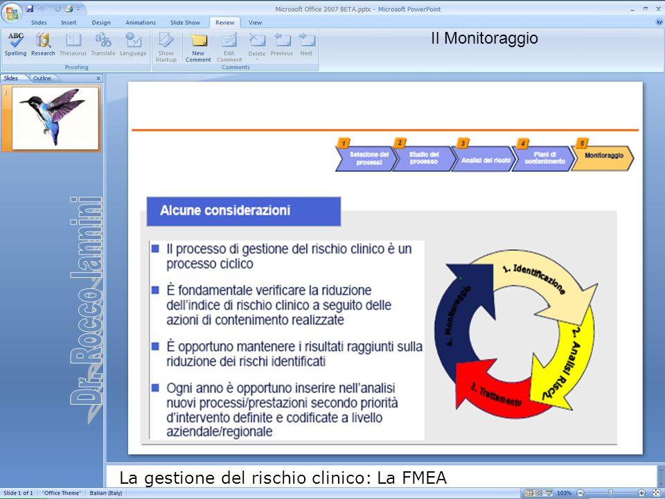 La gestione del rischio clinico: La FMEA Il Monitoraggio