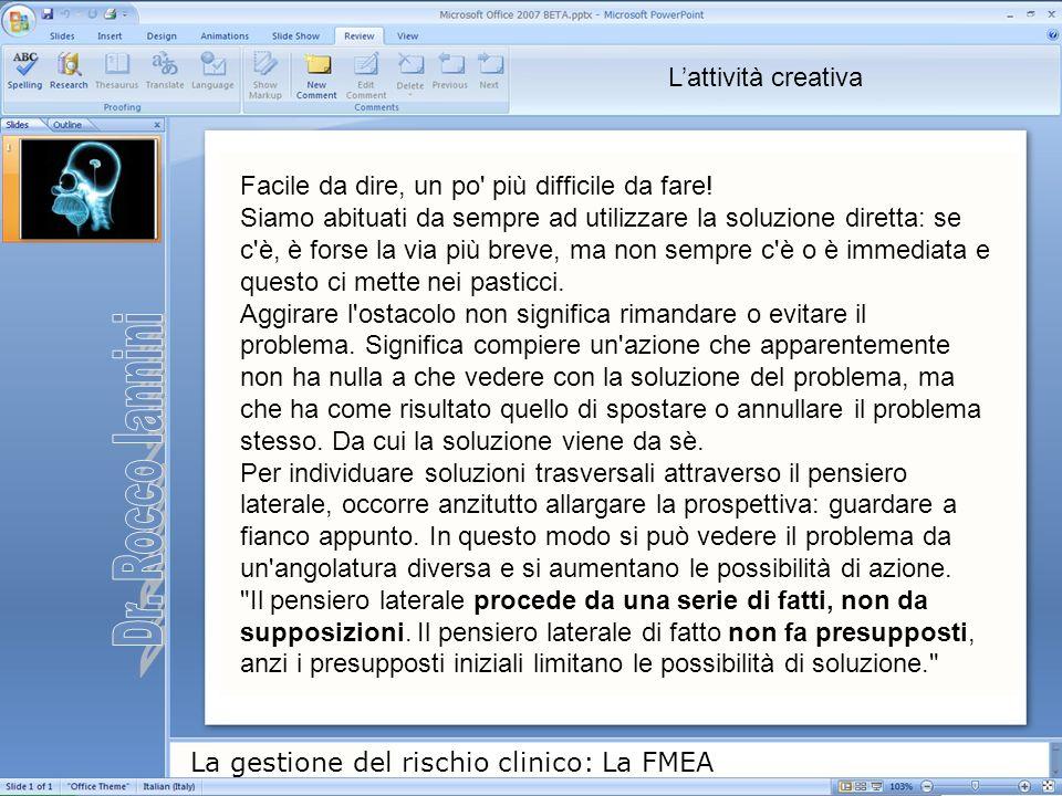 La gestione del rischio clinico: La FMEA Facile da dire, un po' più difficile da fare! Siamo abituati da sempre ad utilizzare la soluzione diretta: se