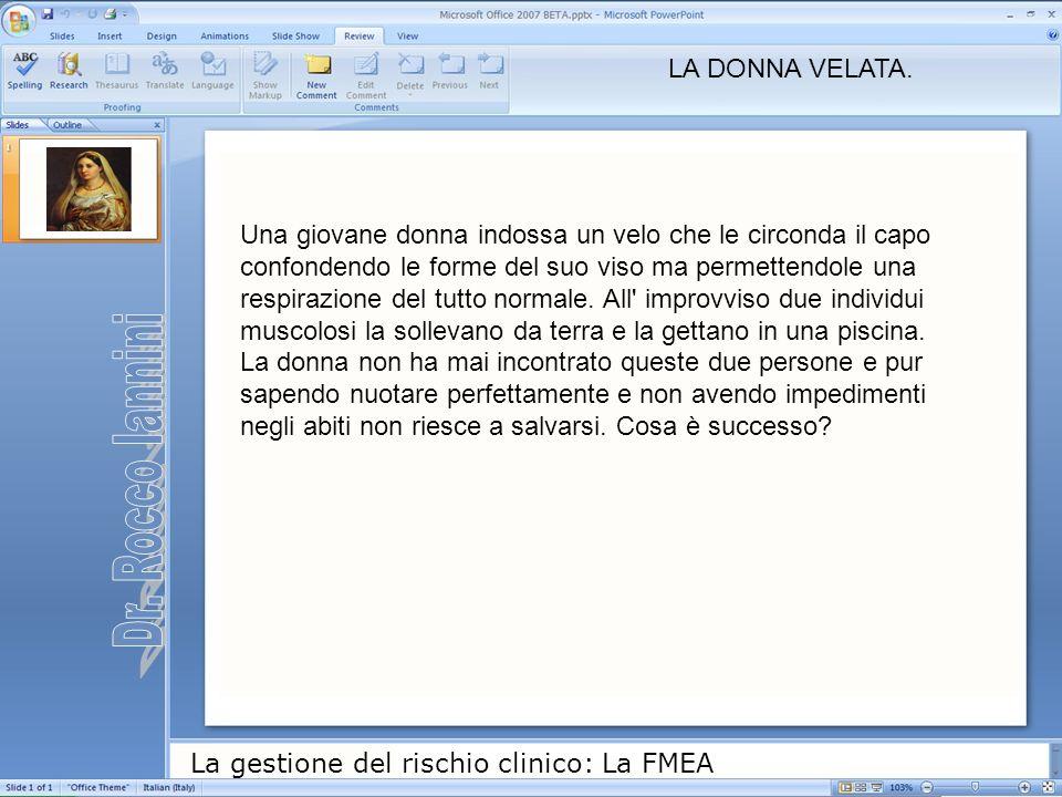 La gestione del rischio clinico: La FMEA Una giovane donna indossa un velo che le circonda il capo confondendo le forme del suo viso ma permettendole