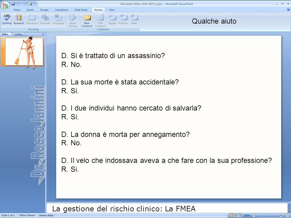 La gestione del rischio clinico: La FMEA D. Si è trattato di un assassinio? R. No. D. La sua morte è stata accidentale? R. Si. D. I due individui hann