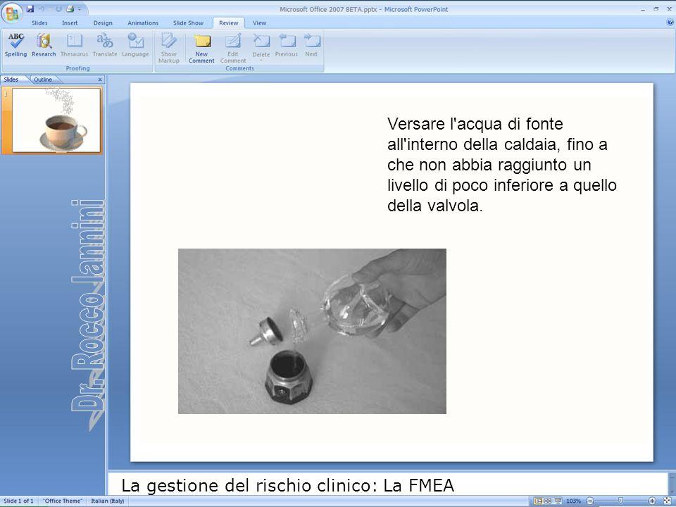La gestione del rischio clinico: La FMEA Versare l'acqua di fonte all'interno della caldaia, fino a che non abbia raggiunto un livello di poco inferio