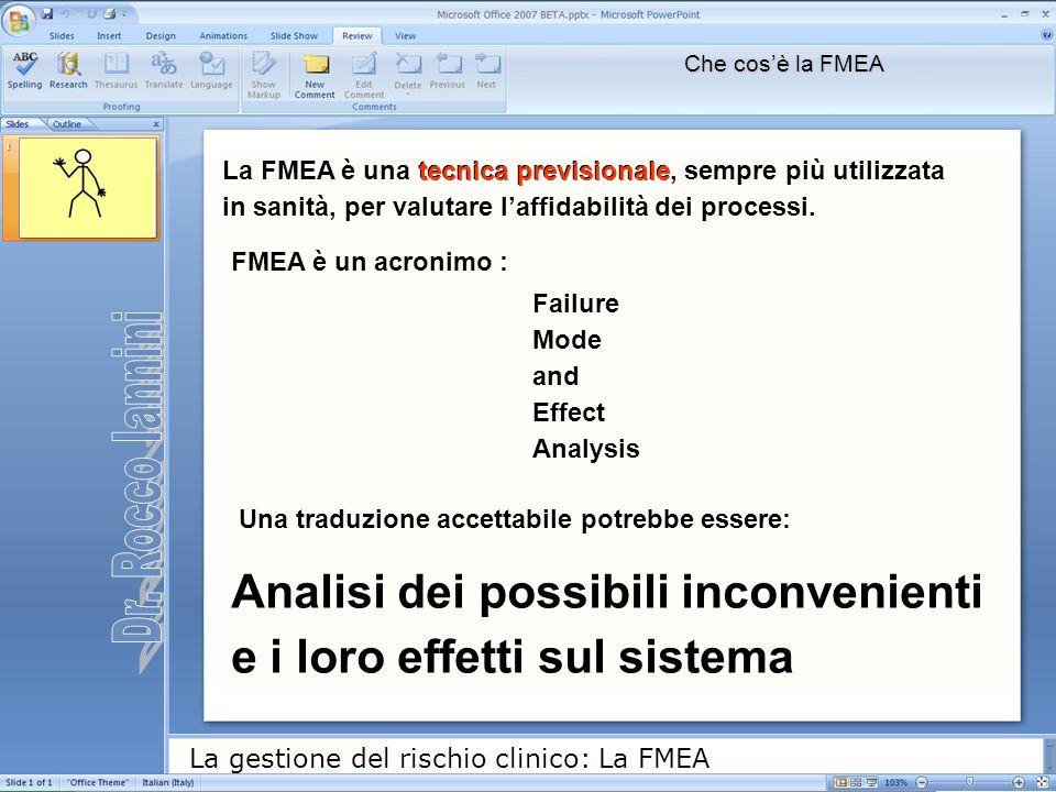 La gestione del rischio clinico: La FMEA Che cosè la FMEA La FMEA è una tecnica previsionale, sempre più utilizzata in sanità, per valutare laffidabil