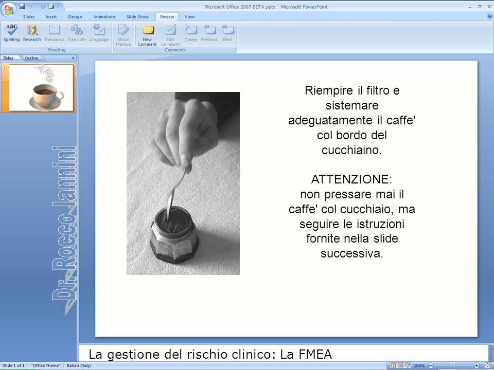 La gestione del rischio clinico: La FMEA Riempire il filtro e sistemare adeguatamente il caffe' col bordo del cucchiaino. ATTENZIONE: non pressare mai