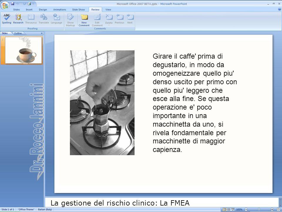 La gestione del rischio clinico: La FMEA Girare il caffe' prima di degustarlo, in modo da omogeneizzare quello piu' denso uscito per primo con quello