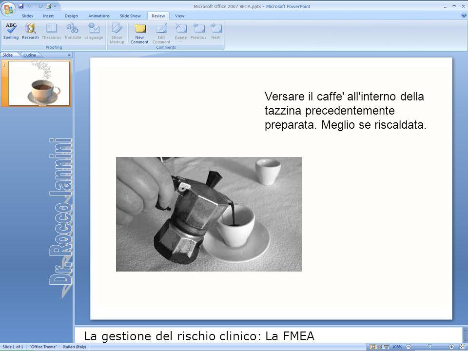 La gestione del rischio clinico: La FMEA Versare il caffe' all'interno della tazzina precedentemente preparata. Meglio se riscaldata.