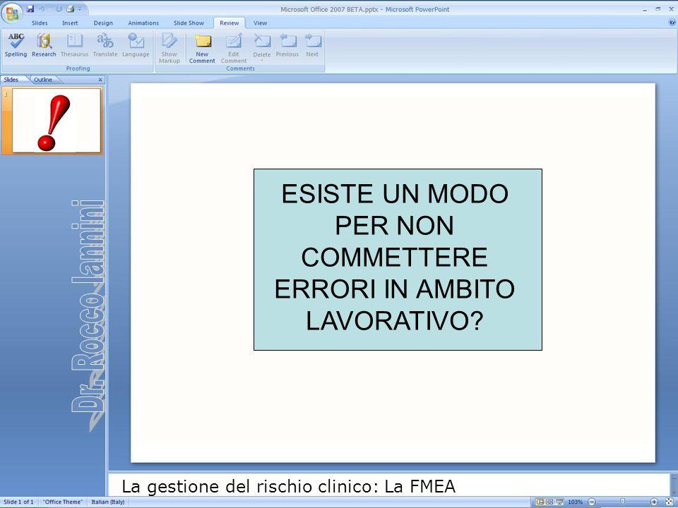 La gestione del rischio clinico: La FMEA ESISTE UN MODO PER NON COMMETTERE ERRORI IN AMBITO LAVORATIVO?