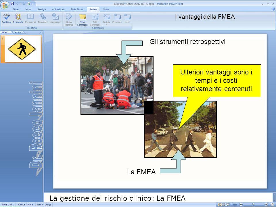 La gestione del rischio clinico: La FMEA Gli strumenti retrospettivi La FMEA I vantaggi della FMEA Ulteriori vantaggi sono i tempi e i costi relativam