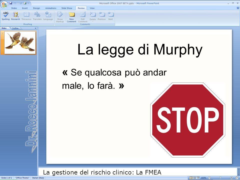 La gestione del rischio clinico: La FMEA « Se qualcosa può andar male, lo farà. » La legge di Murphy