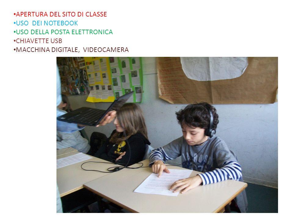 APERTURA DEL SITO DI CLASSE USO DEI NOTEBOOK USO DELLA POSTA ELETTRONICA CHIAVETTE USB MACCHINA DIGITALE, VIDEOCAMERA