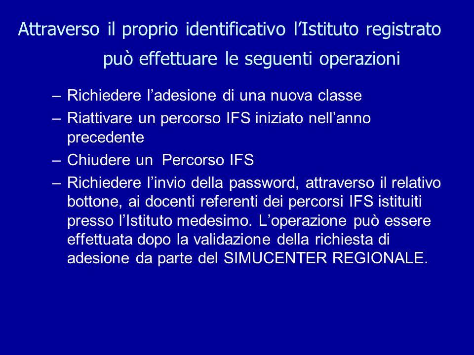 Docente referente Il docente referente riceve un proprio identificativo utente e una password personale per entrare nellapplicativo WEB IFSNETWORK.IT ed effettuare tutte le operazioni del percorso IFS.