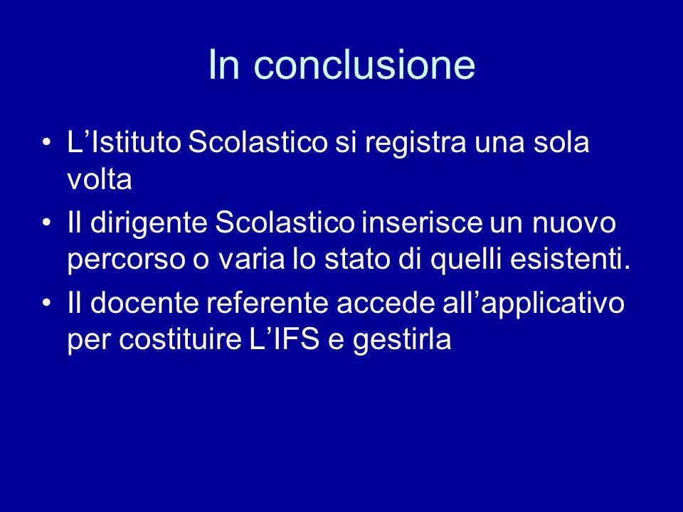 In conclusione LIstituto Scolastico si registra una sola volta Il dirigente Scolastico inserisce un nuovo percorso o varia lo stato di quelli esistenti.