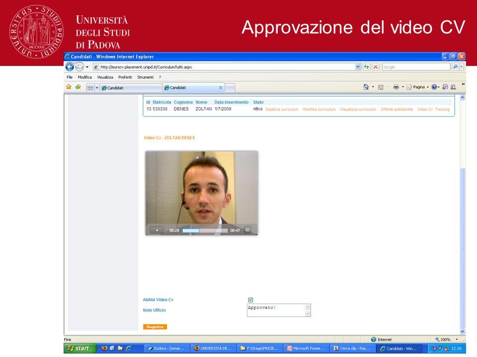 Approvazione del video CV