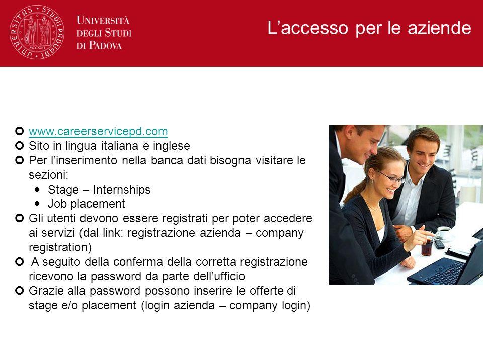 www.careerservicepd.com Sito in lingua italiana e inglese Per linserimento nella banca dati bisogna visitare le sezioni: Stage – Internships Job place