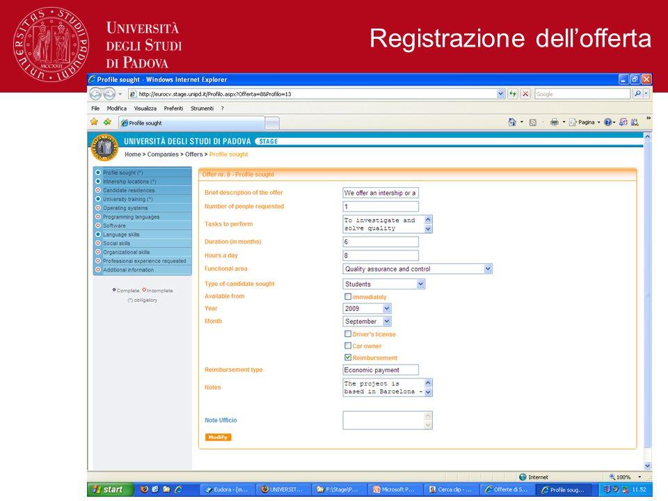 Registrazione dellofferta