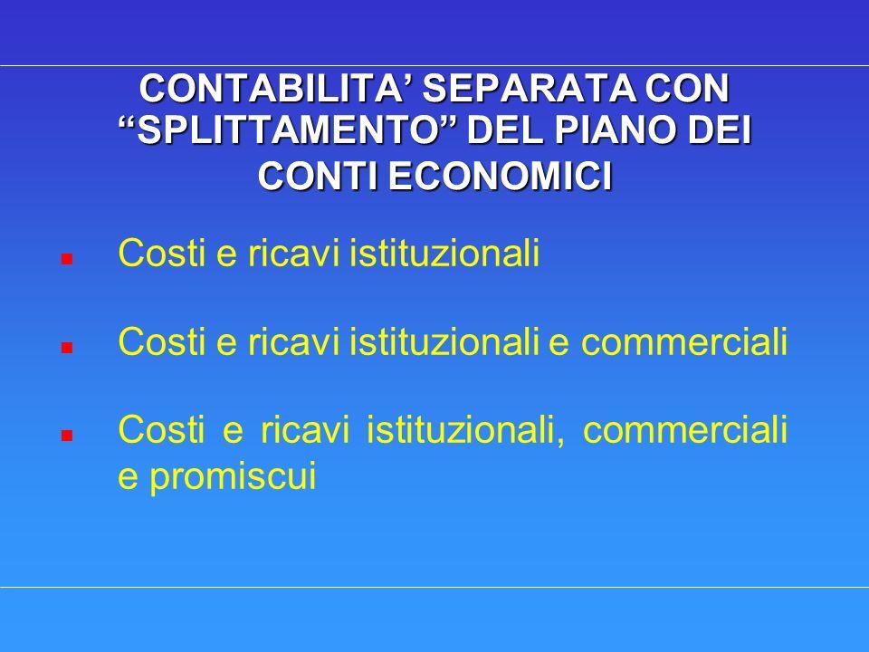 CONTABILITA SEPARATA CON SPLITTAMENTO DEL PIANO DEI CONTI ECONOMICI n Costi e ricavi istituzionali n Costi e ricavi istituzionali e commerciali n Cost