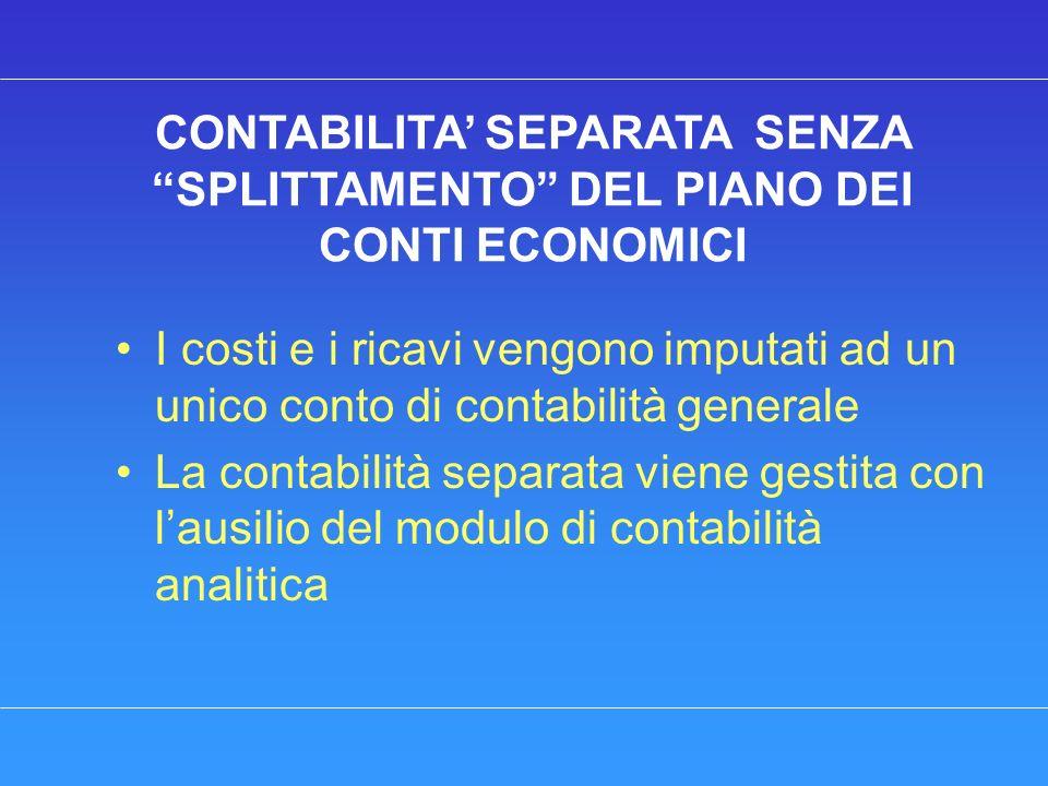 CONTABILITA SEPARATA SENZA SPLITTAMENTO DEL PIANO DEI CONTI ECONOMICI I costi e i ricavi vengono imputati ad un unico conto di contabilità generale La