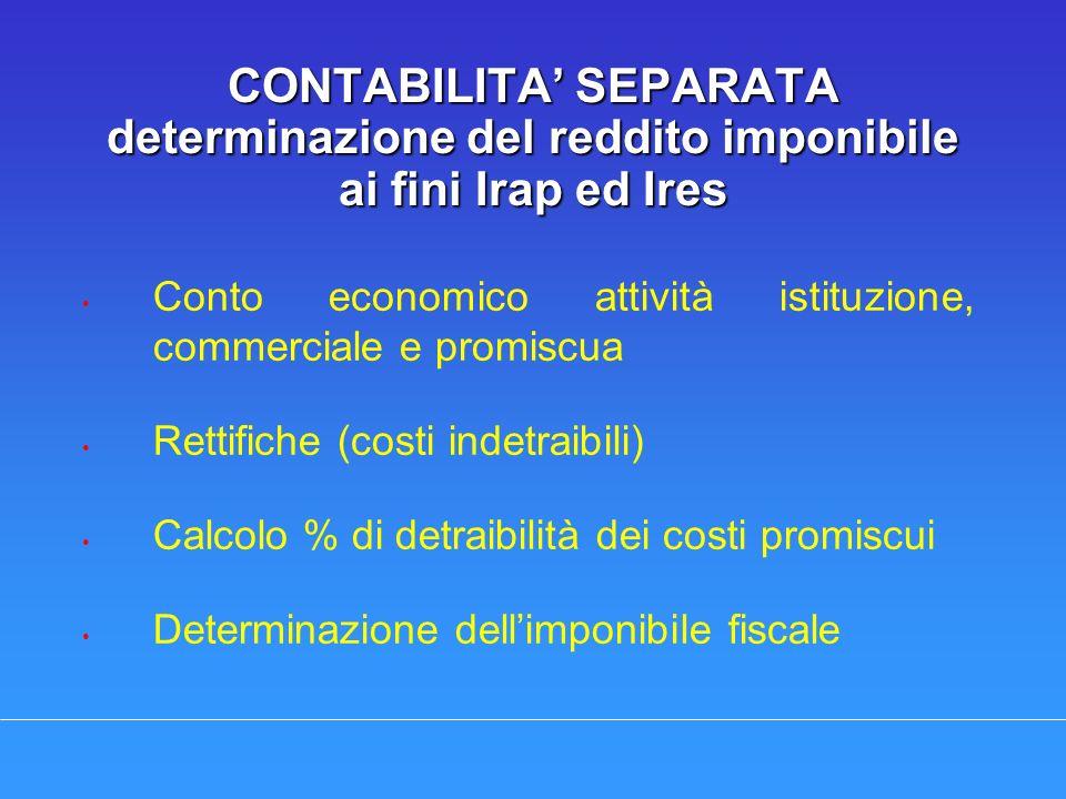 CONTABILITA SEPARATA determinazione del reddito imponibile ai fini Irap ed Ires Conto economico attività istituzione, commerciale e promiscua Rettific