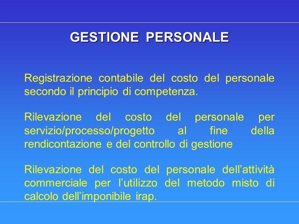 GESTIONE PERSONALE GESTIONE PERSONALE Registrazione contabile del costo del personale secondo il principio di competenza. Rilevazione del costo del pe