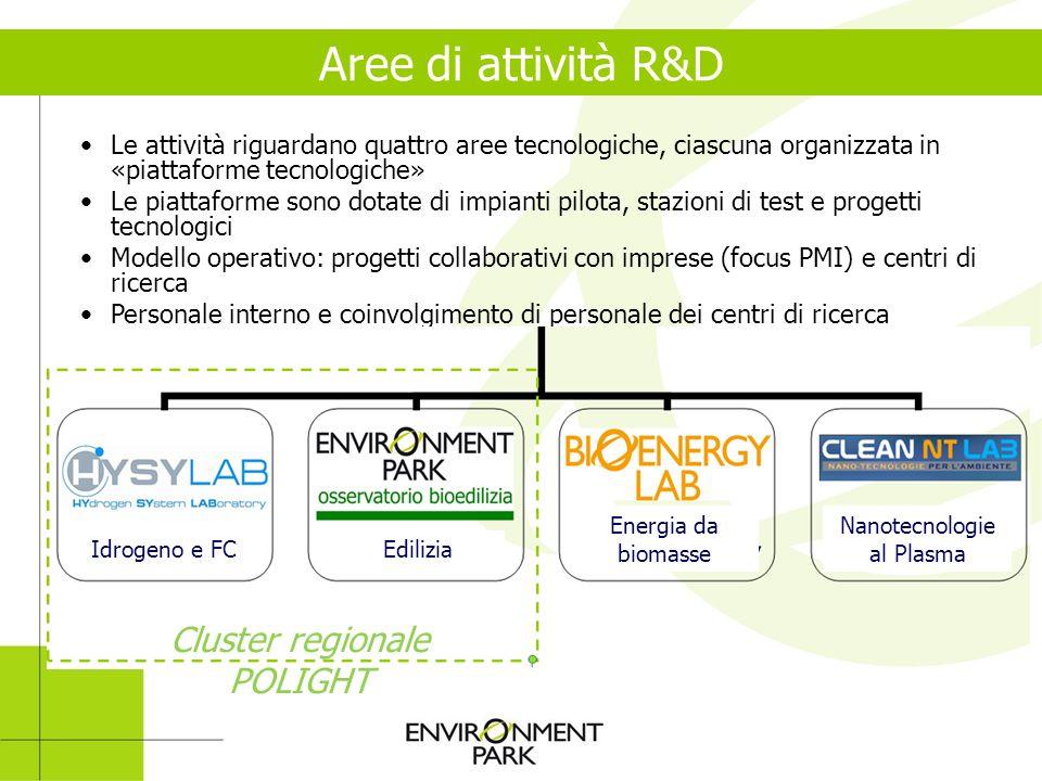 Le attività riguardano quattro aree tecnologiche, ciascuna organizzata in «piattaforme tecnologiche» Le piattaforme sono dotate di impianti pilota, st