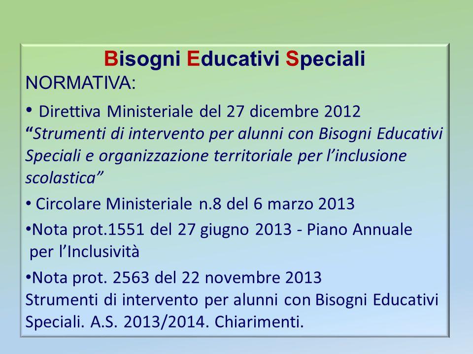 Bisogni Educativi Speciali NORMATIVA: Direttiva Ministeriale del 27 dicembre 2012Strumenti di intervento per alunni con Bisogni Educativi Speciali e o