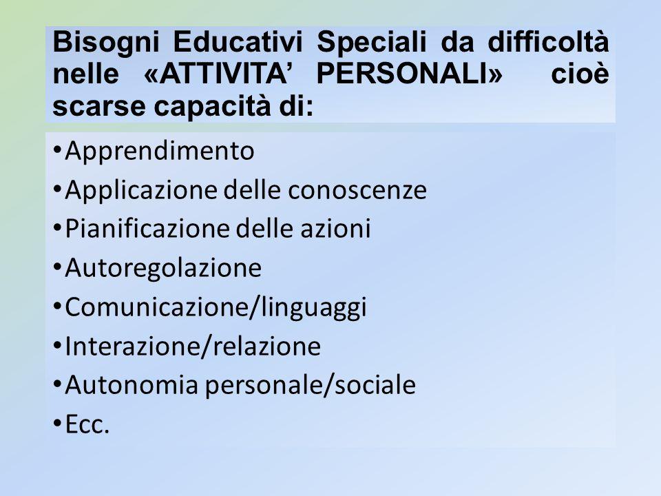 Bisogni Educativi Speciali da difficoltà nelle «ATTIVITA PERSONALI» cioè scarse capacità di: Apprendimento Applicazione delle conoscenze Pianificazion
