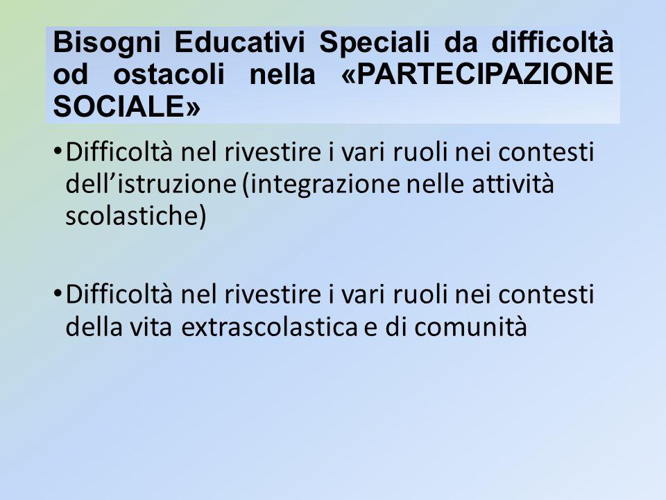 Bisogni Educativi Speciali da difficoltà od ostacoli nella «PARTECIPAZIONE SOCIALE» Difficoltà nel rivestire i vari ruoli nei contesti dellistruzione