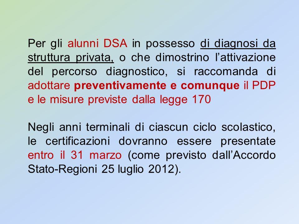 Per gli alunni DSA in possesso di diagnosi da struttura privata, o che dimostrino lattivazione del percorso diagnostico, si raccomanda di adottare pre