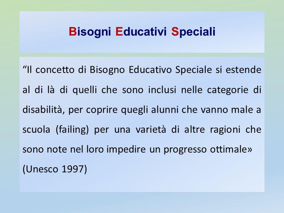 Bisogni Educativi Speciali Il concetto di Bisogno Educativo Speciale si estende al di là di quelli che sono inclusi nelle categorie di disabilità, per