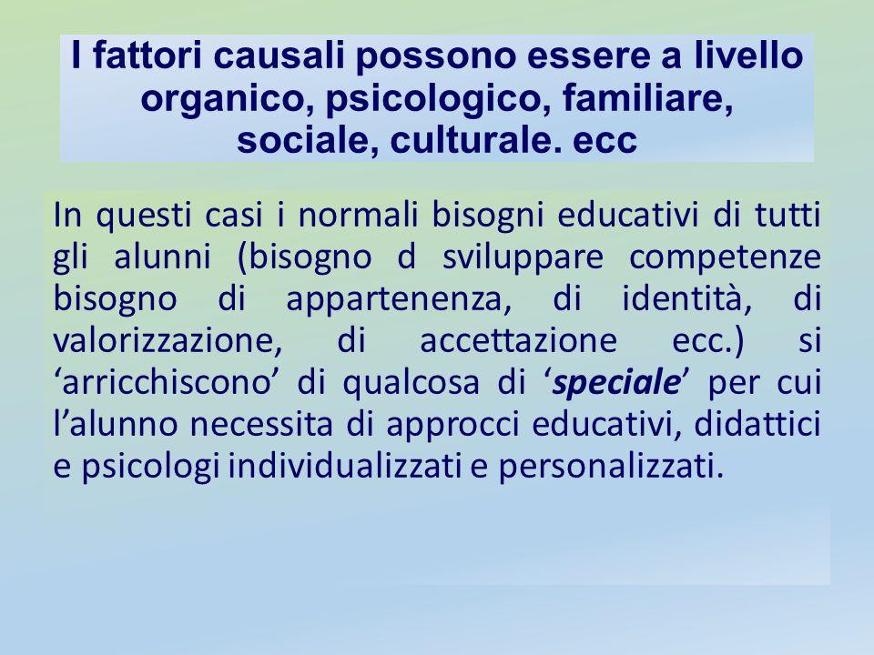 I fattori causali possono essere a livello organico, psicologico, familiare, sociale, culturale. ecc In questi casi i normali bisogni educativi di tut
