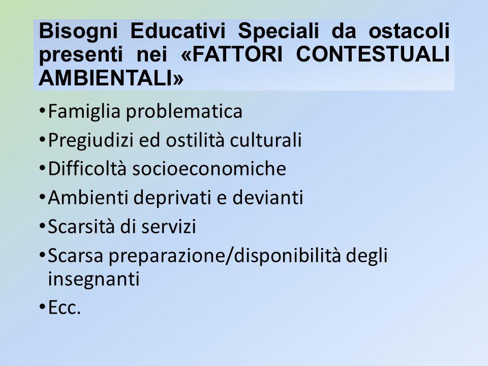Bisogni Educativi Speciali da ostacoli presenti nei «FATTORI CONTESTUALI AMBIENTALI» Famiglia problematica Pregiudizi ed ostilità culturali Difficoltà