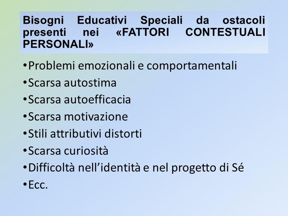 Bisogni Educativi Speciali da ostacoli presenti nei «FATTORI CONTESTUALI PERSONALI» Problemi emozionali e comportamentali Scarsa autostima Scarsa auto