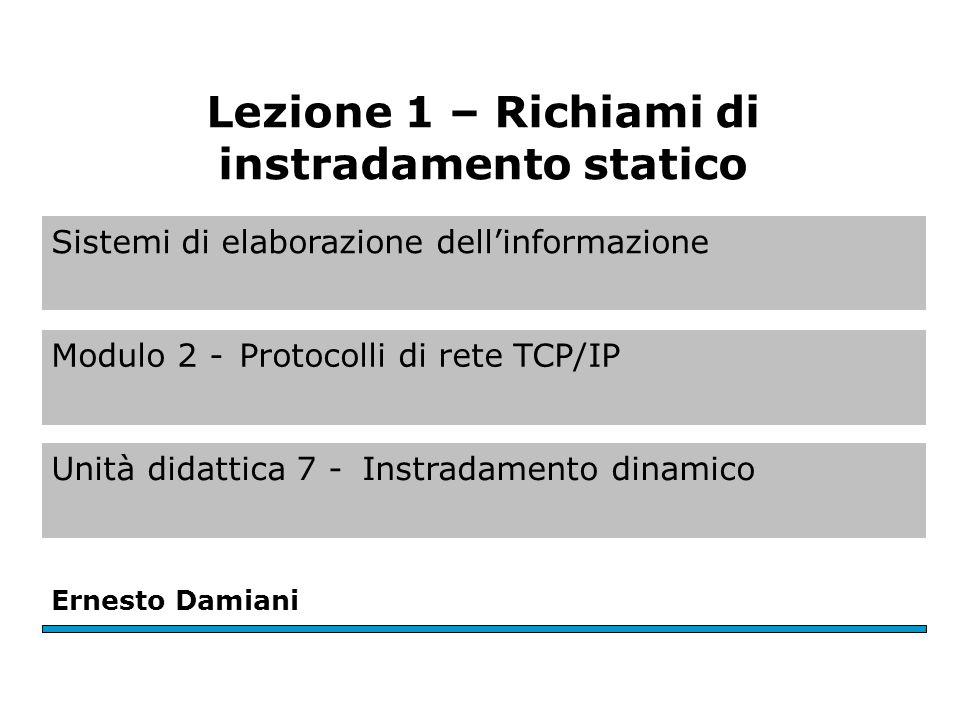 Richiami sullinstradamento statico Tre configurazioni comuni di instradamento: – instradamento con default gateway; – instradamento statico con tabella; – instradamento dinamico.