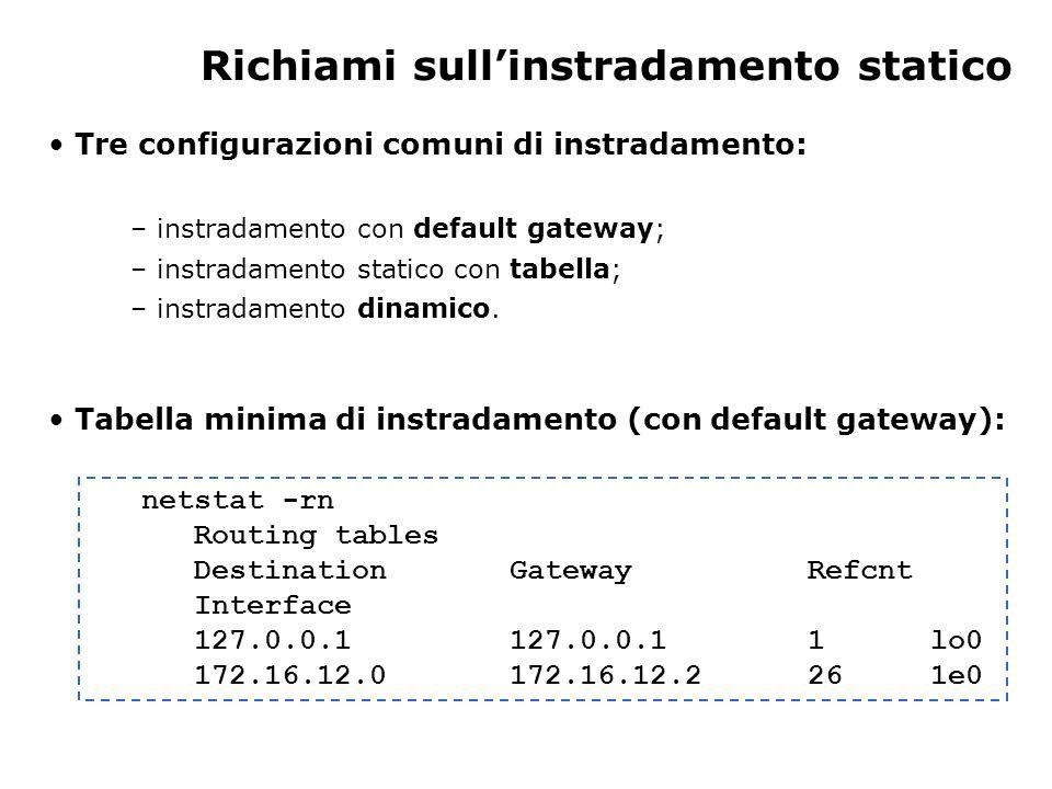 Creazione tabella di instradamento statico Per raggiungere gli host remoti, devono essere aggiunte delle rotte alla tabella di instradamento.