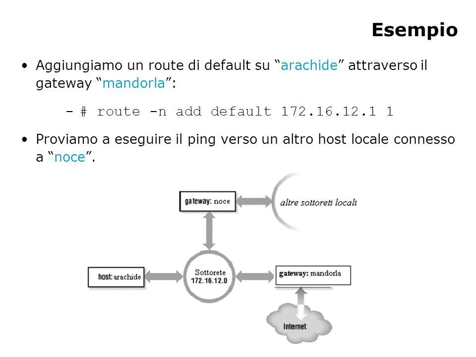 Esempio Aggiungiamo un route di default su arachide attraverso il gateway mandorla: – # route -n add default 172.16.12.1 1 Proviamo a eseguire il ping verso un altro host locale connesso a noce.