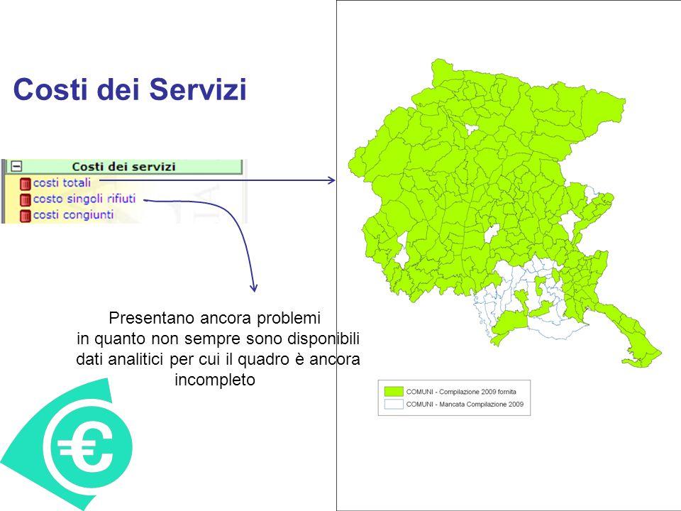 Costi dei Servizi Presentano ancora problemi in quanto non sempre sono disponibili dati analitici per cui il quadro è ancora incompleto