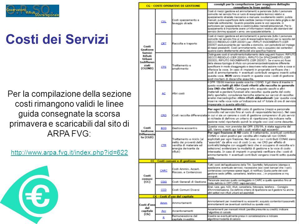 Costi dei Servizi Per la compilazione della sezione costi rimangono validi le linee guida consegnate la scorsa primavera e scaricabili dal sito di ARP