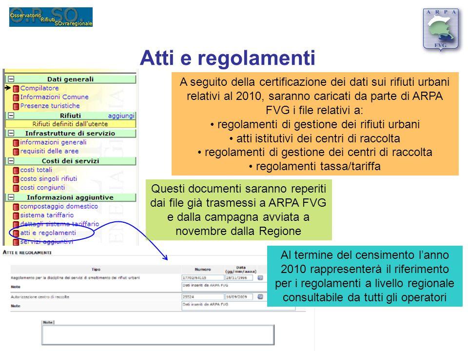 Atti e regolamenti A seguito della certificazione dei dati sui rifiuti urbani relativi al 2010, saranno caricati da parte di ARPA FVG i file relativi