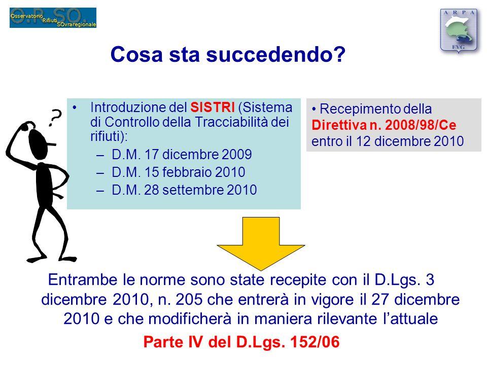 Cosa sta succedendo? Introduzione del SISTRI (Sistema di Controllo della Tracciabilità dei rifiuti): –D.M. 17 dicembre 2009 –D.M. 15 febbraio 2010 –D.