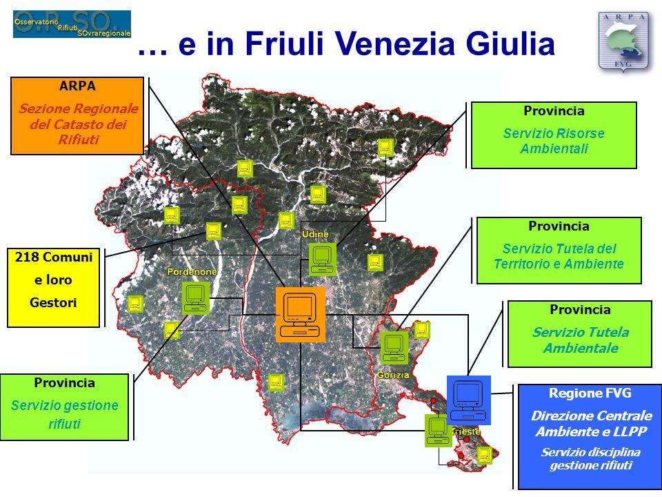 ARPA Sezione Regionale del Catasto dei Rifiuti Provincia Servizio Tutela Ambientale Regione FVG Direzione Centrale Ambiente e LLPP Servizio disciplina