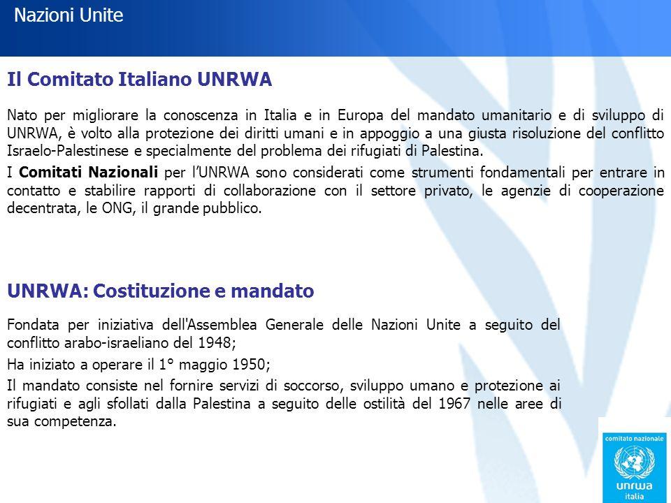 Il Comitato Italiano UNRWA Nato per migliorare la conoscenza in Italia e in Europa del mandato umanitario e di sviluppo di UNRWA, è volto alla protezione dei diritti umani e in appoggio a una giusta risoluzione del conflitto Israelo-Palestinese e specialmente del problema dei rifugiati di Palestina.