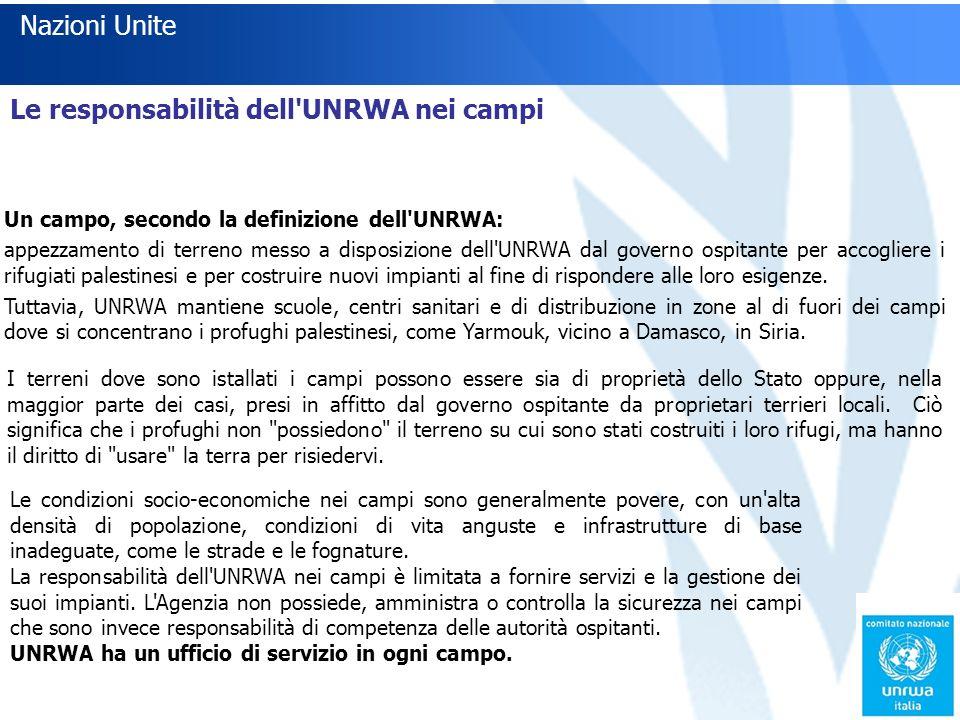 Le responsabilità dell UNRWA nei campi Un campo, secondo la definizione dell UNRWA: appezzamento di terreno messo a disposizione dell UNRWA dal governo ospitante per accogliere i rifugiati palestinesi e per costruire nuovi impianti al fine di rispondere alle loro esigenze.
