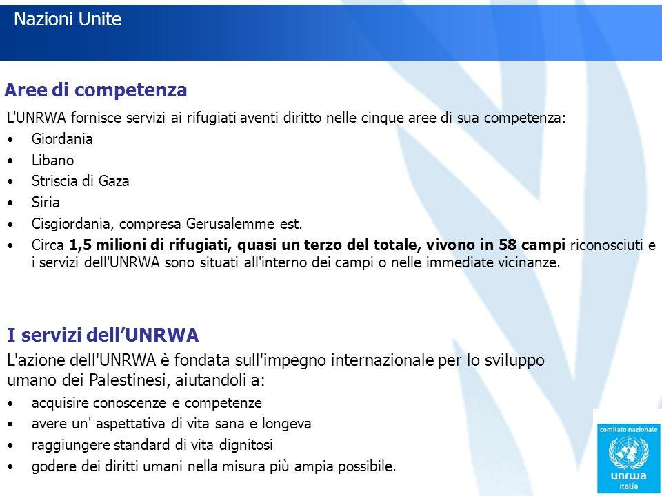 Nazioni Unite Aree di competenza L UNRWA fornisce servizi ai rifugiati aventi diritto nelle cinque aree di sua competenza: Giordania Libano Striscia di Gaza Siria Cisgiordania, compresa Gerusalemme est.